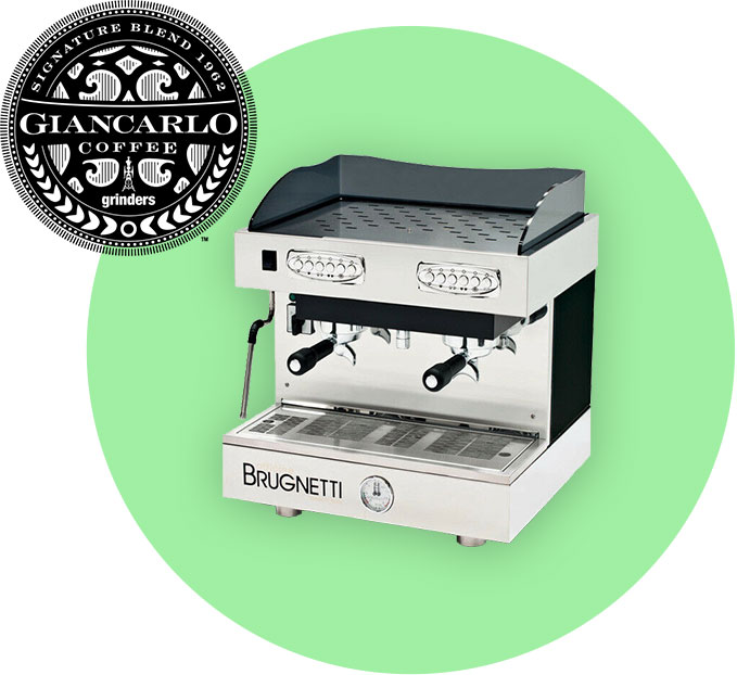 Gilano uses Brugnetti Gamma espresso machines and Giancarlo Grinders Coffee