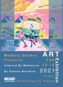link between coffee and art melbourne - simone wolowiec art exhibition in february 2021